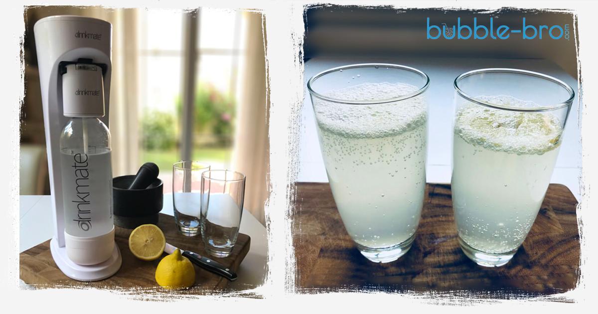 Drinkmate home soda maker with sparkling lemon water