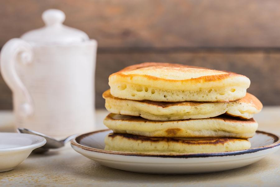 Russian Pancakes. Stack of pancakes. Breakfast. Sweet Pancakes. Stack of pancakes topped .Tasty Pancakes.
